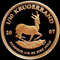 2007 GOLD SOUTH AFRICA PROOF 1/10 OZ KRUGERRAND COIN IN MINT