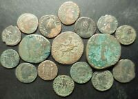 LOT OF 17 VF TO VF  ANCIENT ROMAN COINS: SESTERTIUS   CLAUDIUS CERES SEATED AS
