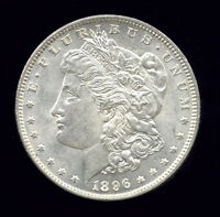 1896  VAM 1F COLLAR CLASH OBV, 9 IN DENTICLES .. MORGAN DOLLAR 624-404