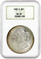 1903 O $1 MORGAN SILVER DOLLAR NGC MINT STATE 65 OLD FAT HOLDER