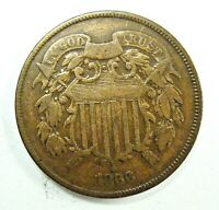 1866 TWO CENT PEICE,  TYPE COIN,  SHIPS FREE