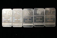 5 X ONE OUNCE. NATIONAL REFINERS. HARDER TO FIND .999 SILVER BAR.  CANADIAN