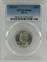 1976 S SILVER UNCIRCULATED BICENTENNIAL WASHINGTON QUARTER PCGS MS66