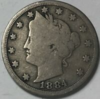 1884  LIBERTY NICKEL  COIN WITH FULL RIMS