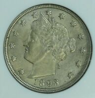 1893 LIBERTY NICKEL ANACS MINT STATE 61 AT0144/BAN