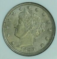 1893 LIBERTY NICKEL ANACS MINT STATE 61 AT0144/190