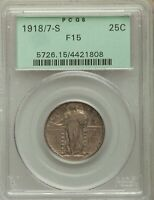 1918/7-S US SILVER 25C STANDING LIBERTY QUARTER - PCGS F15