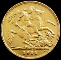 1911 GOLD OVERDATE GREAT BRITAIN HALF SOVEREIGN 3.994 GRAMS