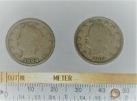 2 LIBERTY V NICKELS 1906 & 1909 - CIRCULATED AND UNGRADED
