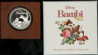 LIMITED EDITION DISNEY 2017 NIUE $2 BAMBI 1 OZ SILVER PROOF