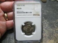 1926 D US STANDNG LIBERTY QUARTER NGC MINT STATE 65 UNCIRCULATED CONDITION BEAUTAFUL TONE