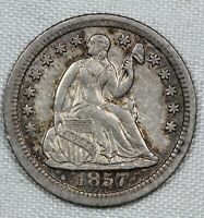 ABOUT UNCIRCULATED 1857 O SEATED LIBERTY HALF DIME AU H10C