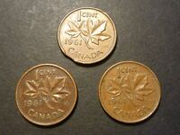 CANADA 1C 1961 ERROR LOT OF 3 COINS: CLIP AND LAMINATIONS