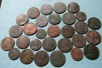 LOT OF 29 BRITISH US COLONIAL HALFPENNY FARTHING COPPERS   G