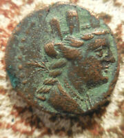 EF OBVERSE  PHOENICIA ARADOS C. 176/5 BC   AD 115/6. TURRETED TYCHE WITH PALM