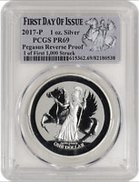 2017 P BVI PEGASUS REVERSE PROOF 1 OZ SILVER PCGS PR69. FIRST DAY OF ISSUE