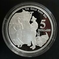 1995 AUSTRALIA  THE GOLD RUSH 1 OZ SILVER  .925  PROOF $5 CO