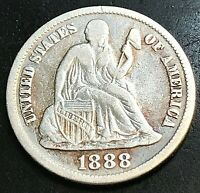 1888-S SEATED DIME WHITE VF ESTATE COIN LOWER MINTAGE DATE CHN