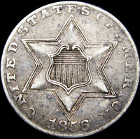 1856 SILVER THREE CENT PIECE 3CP TYPE COIN DIE CLASHES  ----  ---- S312