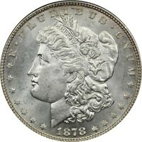 1878 7TF REVERSE OF 78 MORGAN SILVER DOLLAR $1, ICG MINT STATE 65. BRILLIANT UNCIRCULATED