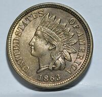 1863 COPPER NICKEL INDIAN HEAD CENT PENNY GEM