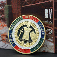 NEW GOLD PLATED PUT ON THE WHOLE ARMOR OF GOD COMMEMORATIVE CHALLENGE COIN U2Y3