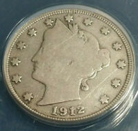1912-S  DATE LIBERTY HEAD NICKEL  ANACS VG-10 DETAILS-SCRATCHED-CLEANED