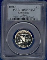 2002   S SILVER PROOF LOUISIANA STATEHOOD QUARTER PCGS PR70D