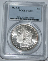 1882-CC MORGAN SILVER DOLLAR $1 PCGS MINT STATE 63. THE COIN SHOULD BE IN A PL HOLDER.