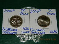 2000 S S. CAROLINA 90  SILVER DC PROOF STATE QTR &2006 S COL