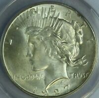 1927-D PEACE SILVER DOLLAR ANACS MINT STATE 60 DETAIL ERROR PLANCHET DEFECT AT0480/HN?