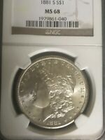 1881 S MORGAN SILVER DOLLAR MS 68