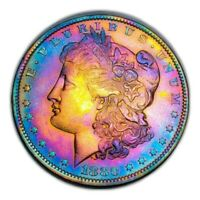 1880 O MORGAN SILVER DOLLAR MONSTER RAINBOW TONING, KEY DATE  294
