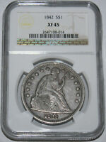 1842-P SEATED LIBERTY DOLLAR $1 NGC EXTRA FINE 45,  NO PROBLEM COIN 177 YEARS OLD.