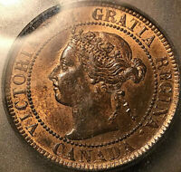 1901 CANADA LARGE CENT PENNY - ICG RED/BROWN MINT STATE 63