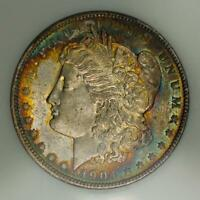 1904-O MORGAN SILVER DOLLAR NGC MINT STATE 64 ATTRACTIVE RAINBOW TONING
