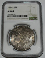 1886-P MORGAN SILVER DOLLAR $1 NGC MINT STATE 64 DARK TONING INCLUDING BLUE ON OBVERSE