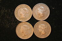 VARIOUS DATES. CANADA. VICTORIA LARGE CENT LOT. 4 COINS.
