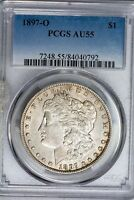 1897-O MORGAN SILVER DOLLAR PCGS AU55 SUPERBLY LUSTROUS AND ORIGINAL NEAR BU