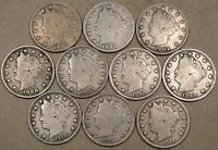 1897,98,1904,06,07,08,09,10,11,12 LIBERTY V NICKELS G-VGMOST