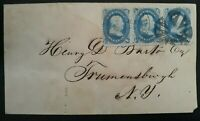 VERY  C.1857 UNITED STATES COVER TIES STRIP OF 3 X 1C BLUE F