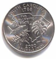 BU U.S. PLATINUM PLATED SOUTH CAROLINA STATE QUARTER 2000 D