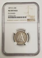 1875 S 20C NGC CLEANED   AU DETAIL LIBERTY SEATED TWENTY CENT PIECE