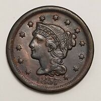 1857 LARGE CENT CORONET HEAD LARGE DATE B082