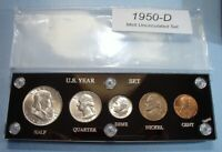 1950 D MINT SILVER SET OF U.S. COINS MINT STATE TO BRILLIANT