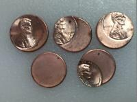 LOT  5 COINS  LINCOLN CENT OFF CENTER US ERROR COINS MULTIPL