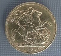 BRITISH FULL GOLD SOVEREIGN 1908 CIRCULATED UNCERTIFIED