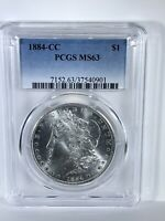 1884CC MORGAN SILVER DOLLAR PCGS MINT STATE 63 FROM A GSA HOLDER