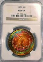1890-P  MORGAN DOLLAR   NGC MINT STATE 64 STAR  GORGEOUS 2 SIDE COLORFUL TONING