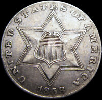 1858 SILVER THREE CENT PIECE 3CP       NICE        S969
